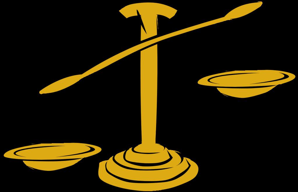 Eine goldene Waage, im Comic-Stil gezeichnet.