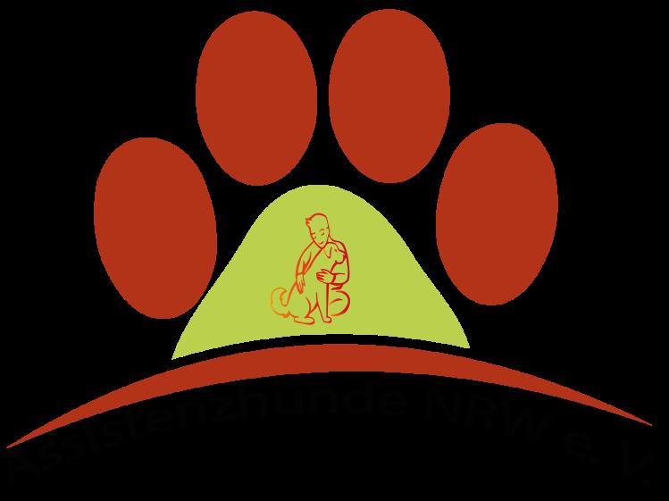 Eine Hundepfote. Rote Tatzen und ein grüner Ballen. In dem grünen Ballen schemenhaft angedeutet ein Junge, der einen Hund umarmt. Unter der Pfote in schwarzer Schrift Assistenzhunde NRW e. V.